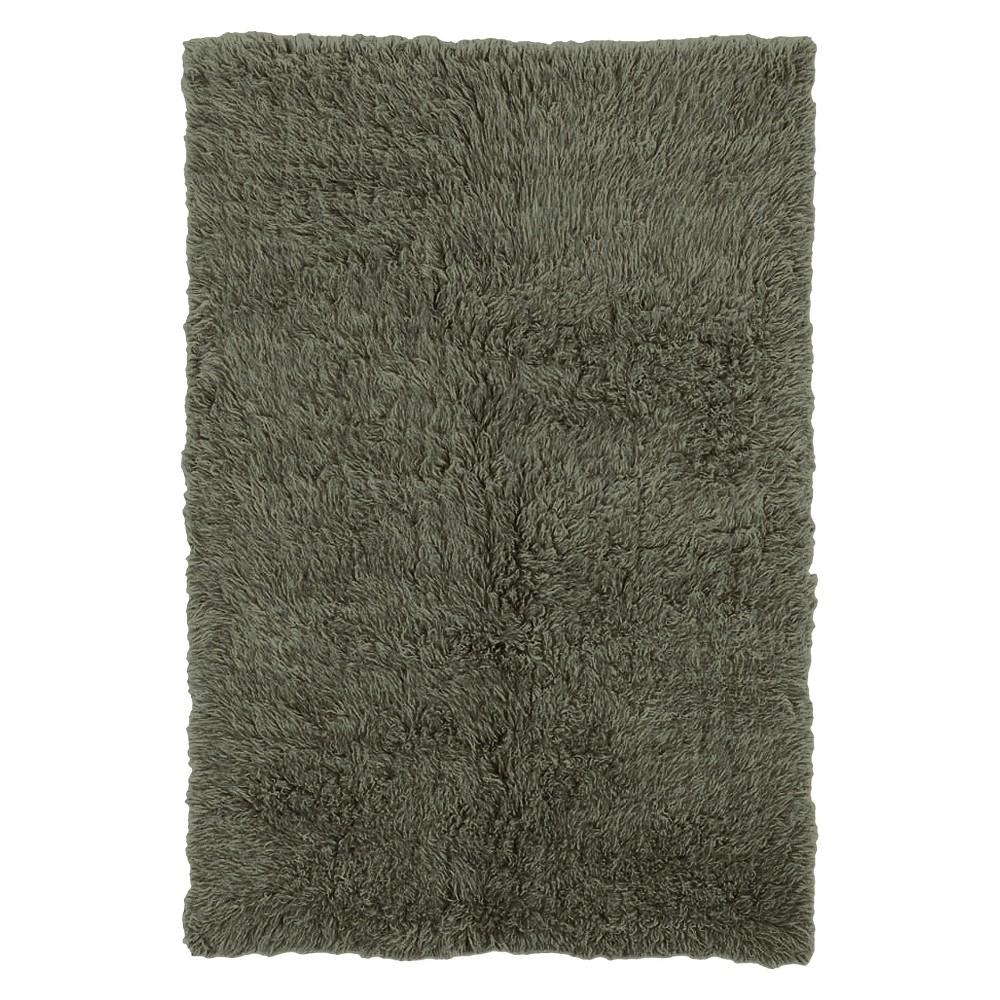 Image of 100% New Zealand Wool Flokati Area Rug - Olive (5'X8'), Green Green