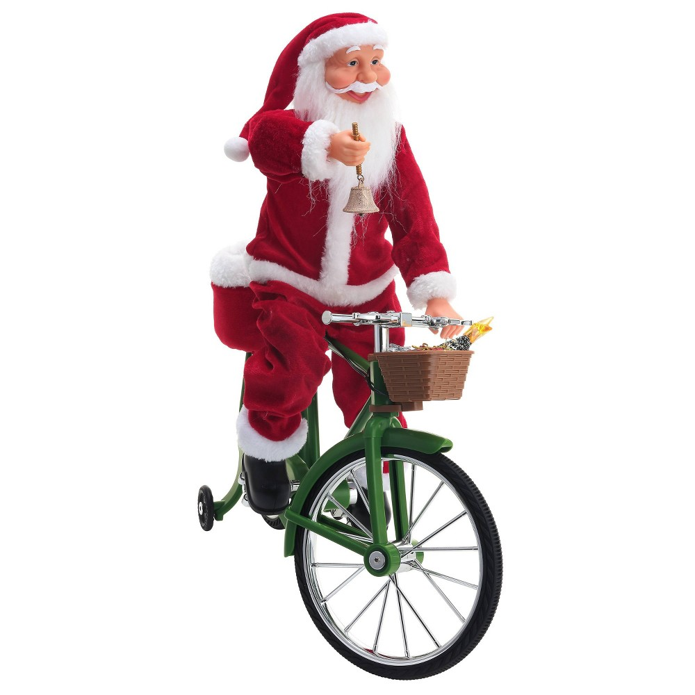 Image of Cycling Santa Decorative Figurine - Mr. Christmas