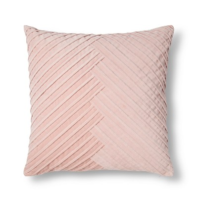 Blush Pleated Velvet Throw Pillow - Fieldcrest®