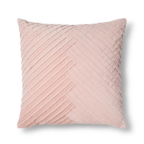 Blush Pleated Velvet Throw Pillow Fieldcrest