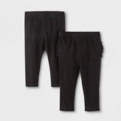 Baby Girls' 2pk Ruffle Leggings - Cat & Jack™ Black