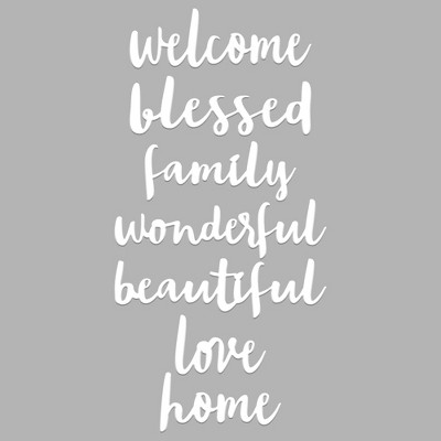 5.15 x12.15  Everyday White Word Pack Decorative Wall Art White - Room Essentials™