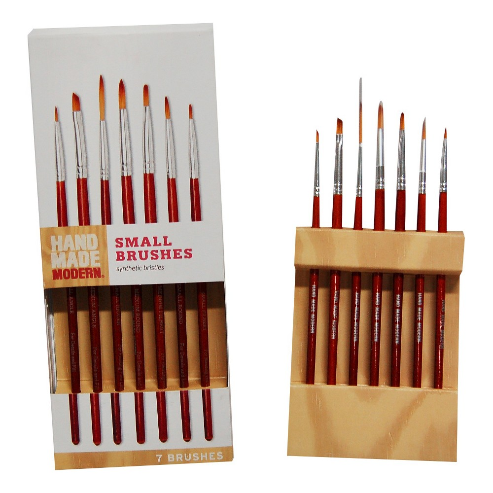 Image of 7ct Small Paint Brush Set Hand Made Modern