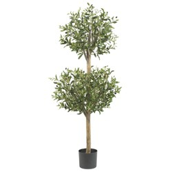 4.5ft Artificial Olive Double Topiary Tree - Nearly Natural