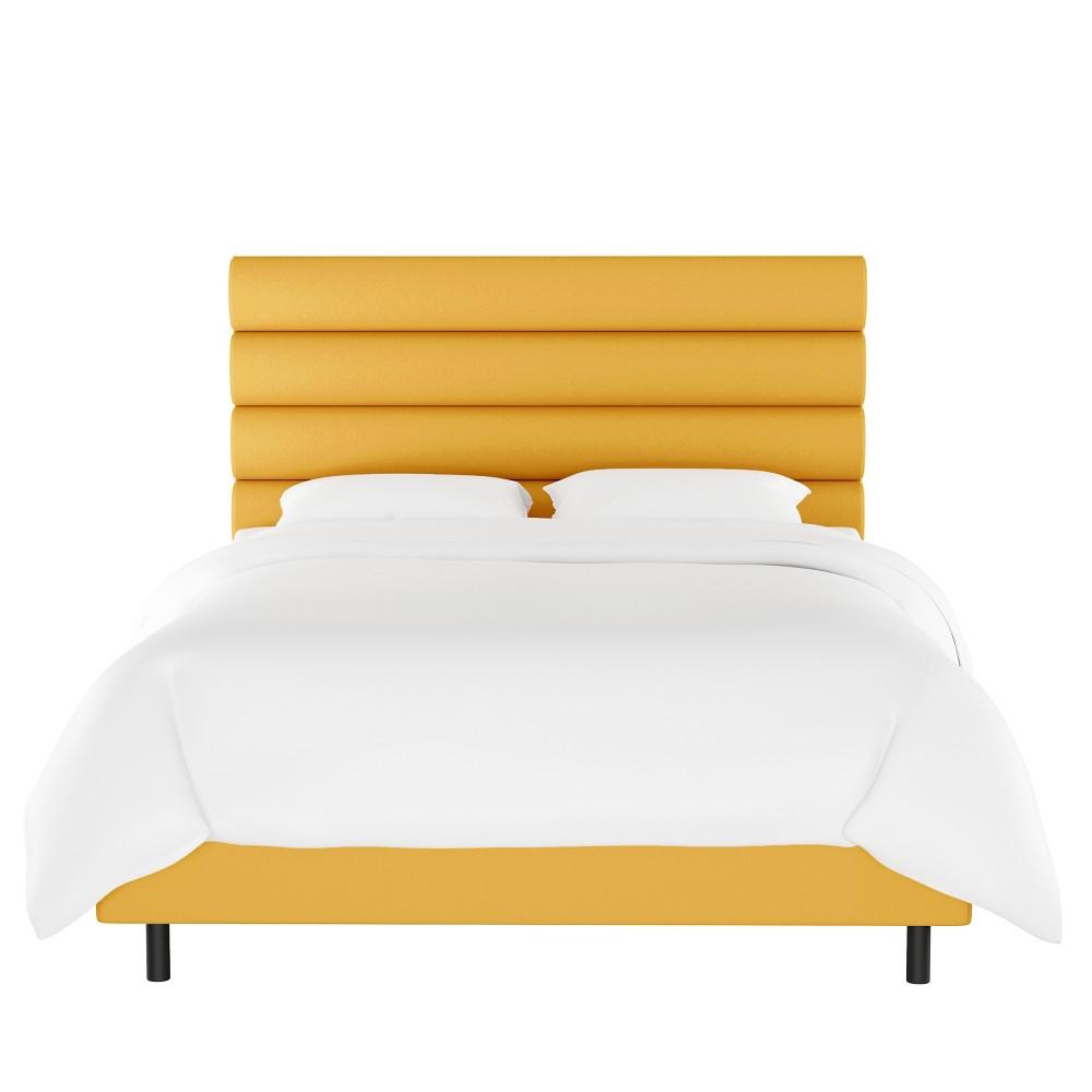 King Horizontal Channel Bed Yellow Velvet Opalhouse 8482