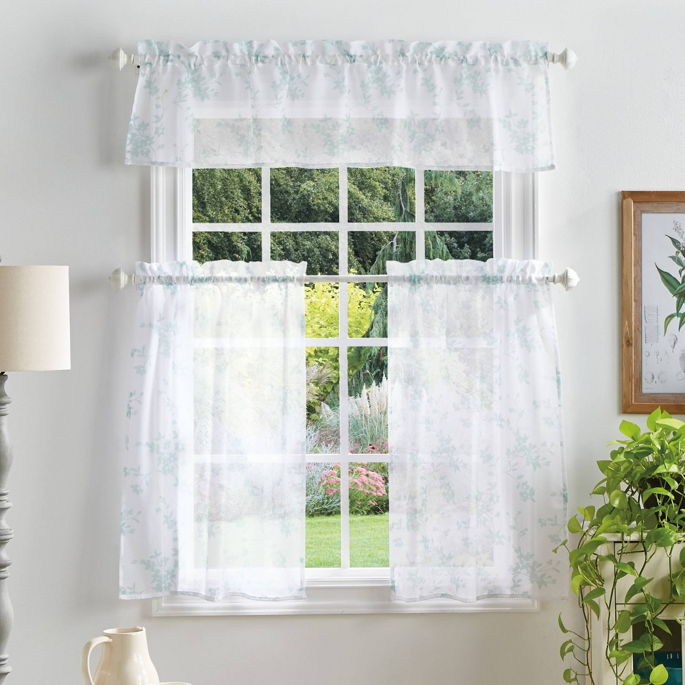 "Image of ""36""""x56"""" Bellefield Floral Sheer Valence and Curtain Set Blue - Martha Stewart"""