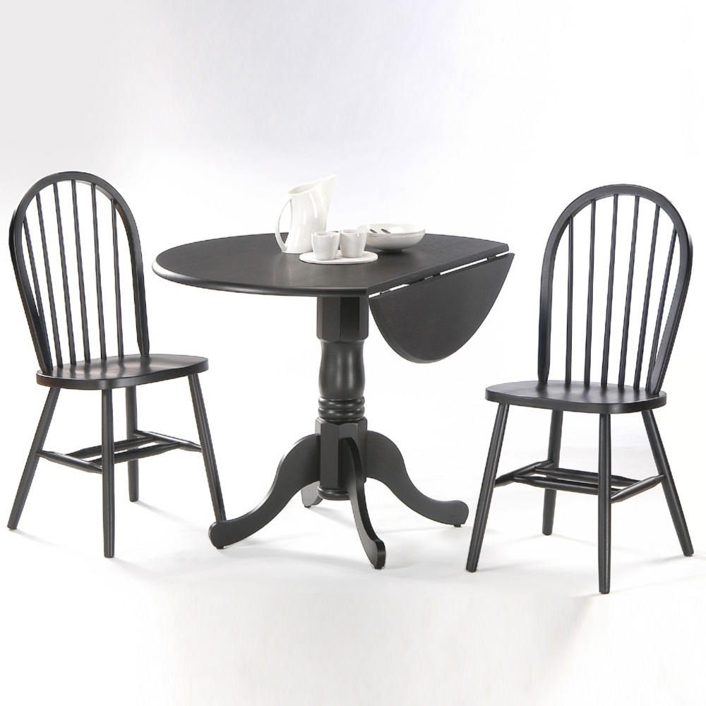 42 Set of 3 Dual Drop Leaf Table with 2 Windsor Chairs Black - International Concepts