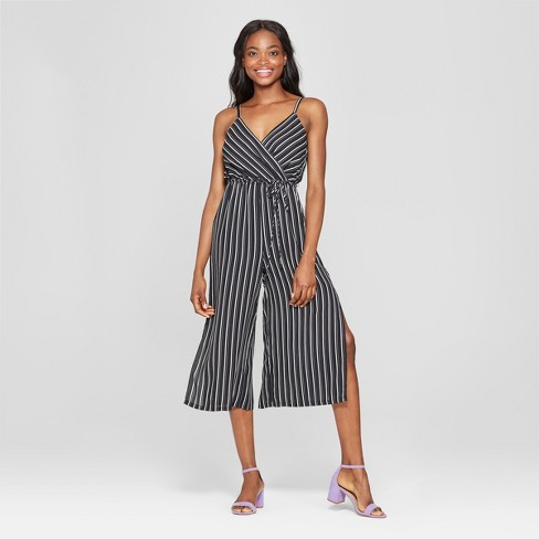 Women's Striped Tie Waist Jumpsuit - Lily Star (Juniors') Black/White - image 1 of 2