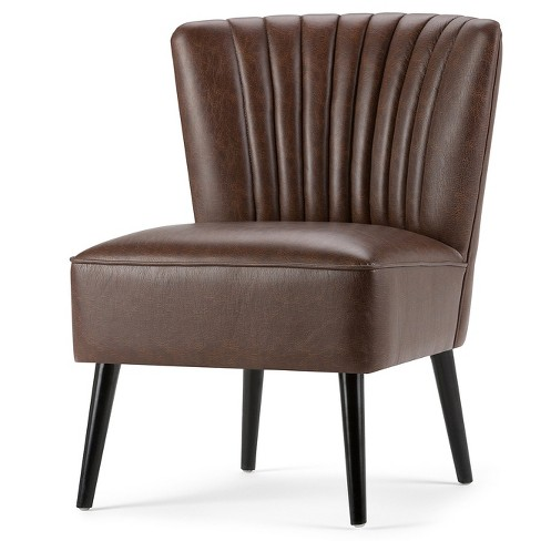 Addison Accent Chair Distressed Brown Faux Air Leather - Wyndenhall - image 1 of 4
