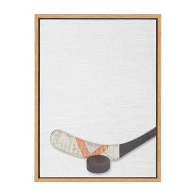"18"" x 24"" Sylvie Hockey Stick and Puck Framed Canvas Natural - DesignOvation"