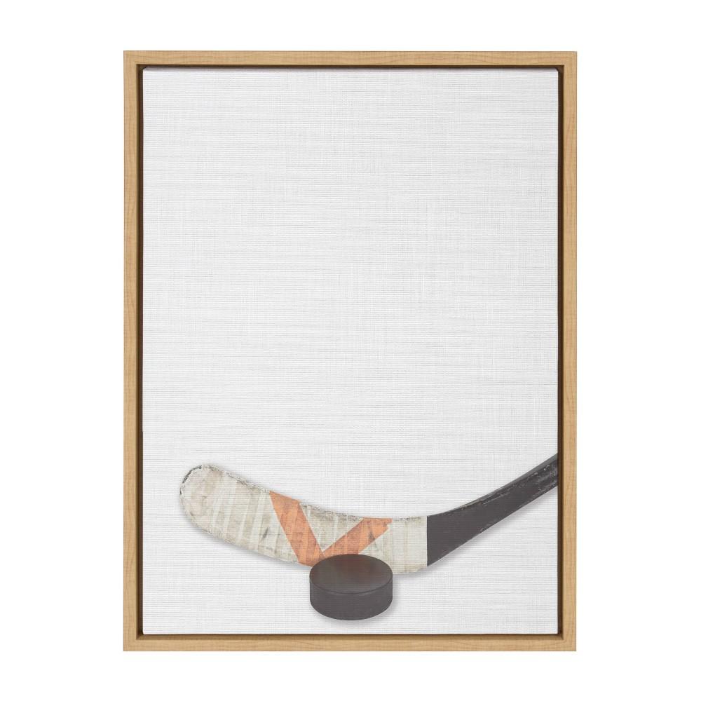 "Image of ""18"""" x 24"""" Sylvie Hockey Portrait On Linen Art Framed Canvas Wall Decor - DesignOvation"""