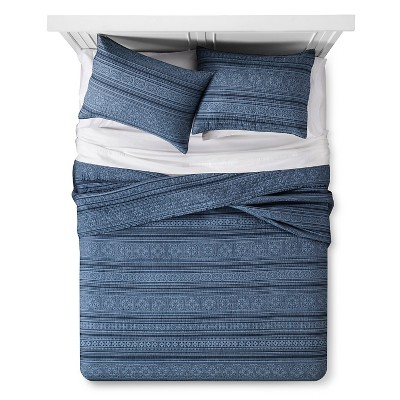 Indigo Tonal Stripe Quilt and Sham Set (Full/Queen)3pc - The Industrial Shop™