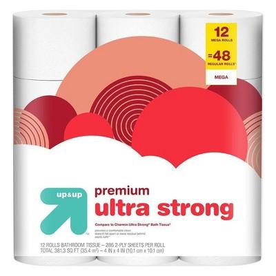 Premium Ultra Strong Toilet Paper - 12 Mega Rolls - up & up™