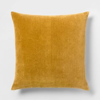 Quilted Washed Velvet Oversize Square Pillow Gold - Threshold™