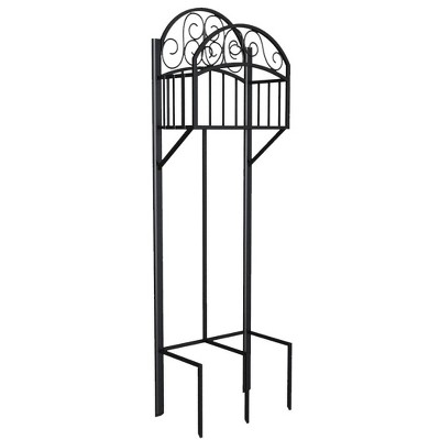 Liberty Garden 5-Prong Gauge Steel Scroll Water Hose Stand with Storage Shelf and Powder Coated Black Satin Finish