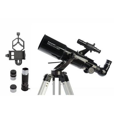 Celestron Powerseeker 80AZS Telescope with Basic Smartphone Adapter - Black