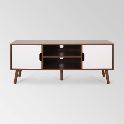 """Peermont Mid-Century Modern TV Stand for TVs up to 53"""" Walnut/White - Christopher Knight Home"""