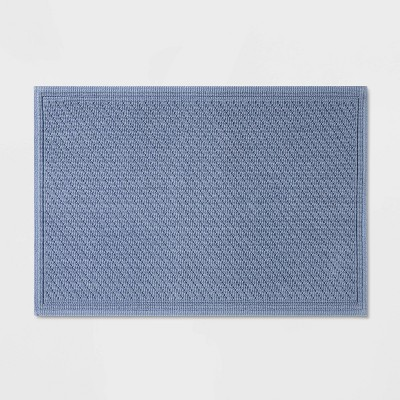 "30""x21"" Performance Solid Bath Mat Blue - Threshold™"