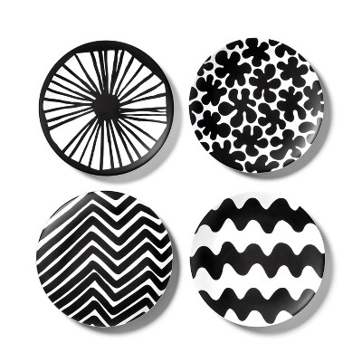 4pk Melamine Salad Plate Set Black/White - Marimekko for Target