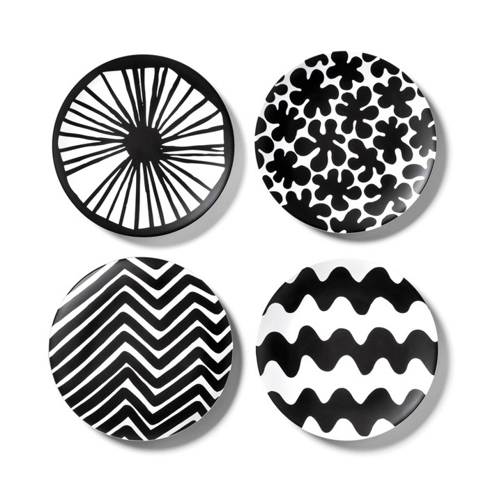 4pk Melamine Salad Plate Set Black/White - Marimekko for Target - image 1 of 3