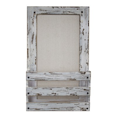 Wood Wall Pocket With Linen Pin Board White   E2 Concepts by E2 Concepts