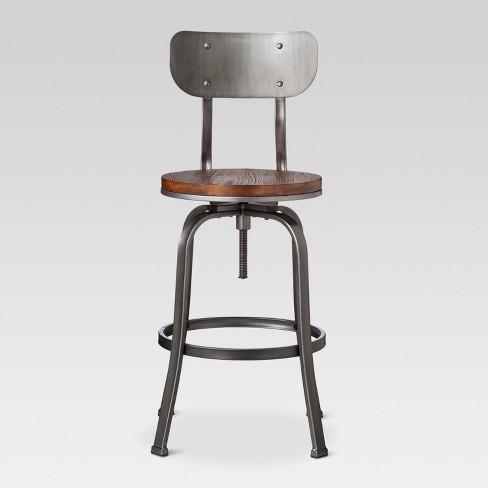 Outstanding 29 Dakota Backed Adjustable Barstool Pewter Threshold Theyellowbook Wood Chair Design Ideas Theyellowbookinfo