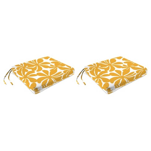 Outdoor Set Of 2 French Edge Seat Cushions In Twirly Yellow - Jordan Manufacturing - image 1 of 1