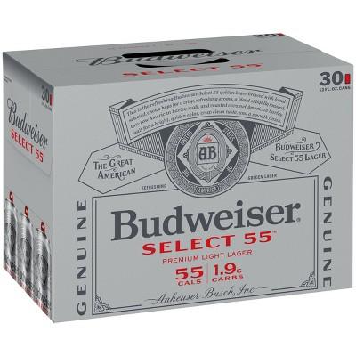 Budweiser Select 55 Light Lager Beer - 30pk/12 fl oz Cans