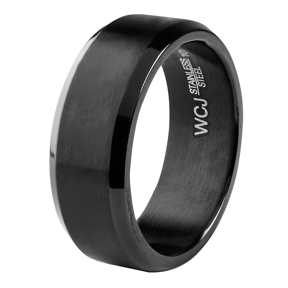 Men's West Coast Jewelry Blackplated Stainless Steel Satin and High Polished Ring (13), Black
