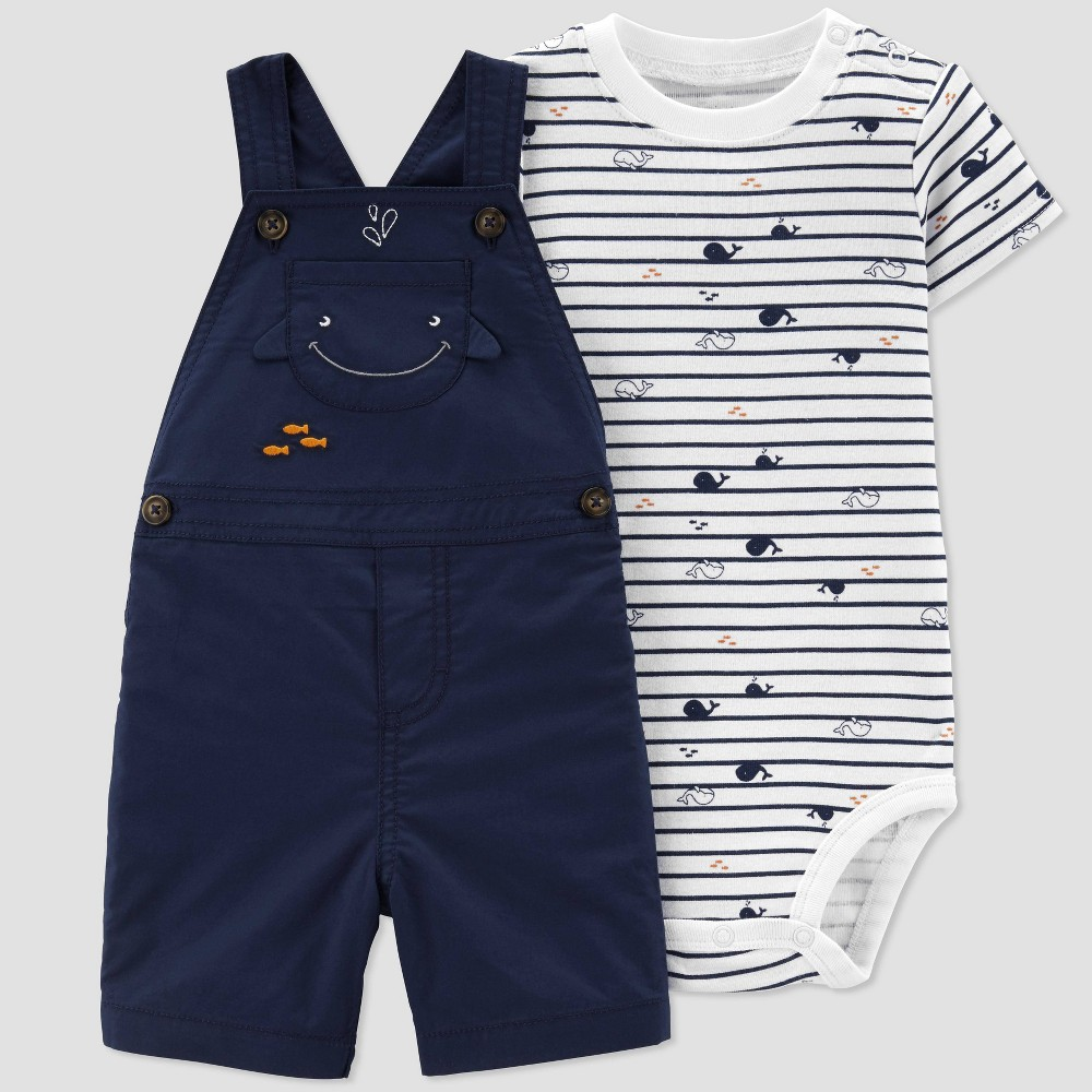 12c655f3dfe09 Baby Boys 2pc Whale Print Shortall Set Just One You made by carters  WhiteNavy Newborn Blue