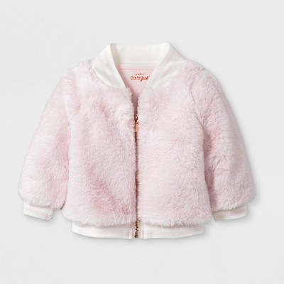 Baby Girls' Faux Fur Bomber Jacket - Cat & Jack™ Pink 0-3M