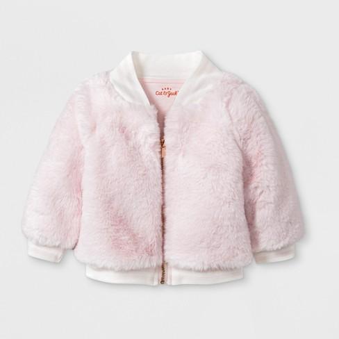 92a1c42307fa Baby Girls  Faux Fur Bomber Jacket - Cat   Jack™ Pink   Target