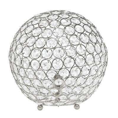 "10"" Elipse Crystal Ball Sequin Table Lamp Chrome - Elegant Designs"