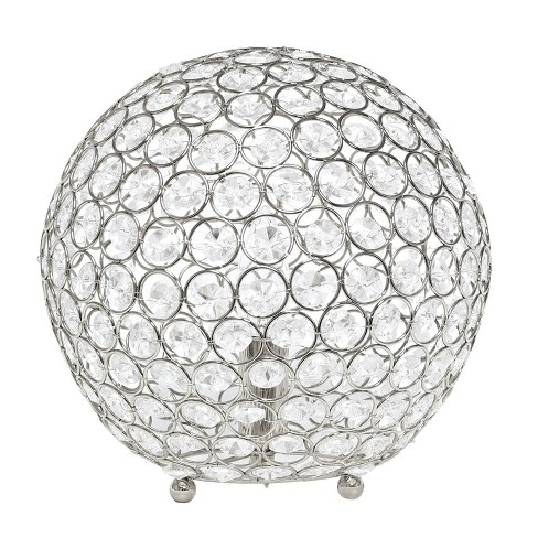 """10"""" Elipse Crystal Ball Sequin Table Lamp Chrome - Elegant Designs - image 1 of 4"""
