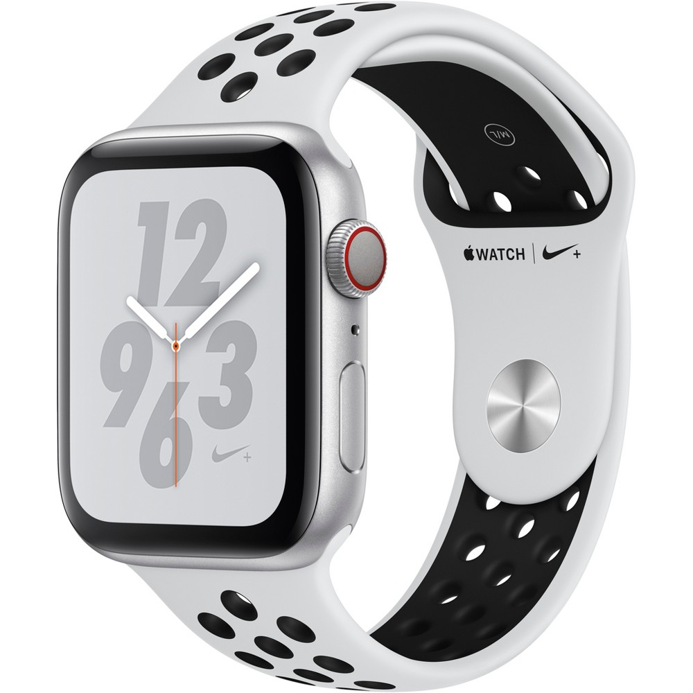 Apple Watch Series 4 Nike+ Gps & Cellular 44mm Silver Aluminum Case with Nike Sport Band - Pure Platinum/Black, White Sport Band Track your runs with Gps and altimeter. Pair your watch wirelessly with compatible gym equipment. Apple Watch Nike+ is swimproof, so you can take a post-run dip in the pool. And built-in cellular lets you stream your favorite music and get phone calls, messages, and notifications—even when you don't have your phone. There are new Nike watch faces and bands: The Nike Sport Band with compression-molded perforations for breathability and the Nike Sport Loop is woven with a special reflective thread. Selection may vary; see a sales associate for available models. Apple Watch Series 4 (Gps + Cellular) requires an iPhone 6 or later with iOS 12 or later. Wireless service plan required for cellular service. Apple Watch and iPhone service provider must be the same. Not all service providers support enterprise accounts; check with your employer and service provider. Roaming is not available outside your carrier network coverage area. Contact your service provider for more details. Iso standard 22810:2010. Appropriate for shallow-water activities like swimming. Submersion below shallow depth and high-velocity water activities not recommended. Compared with the previous generation. Color: White Sport Band.