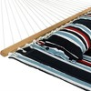 Nautical Stripe Quilted Double Fabric Hammock with 12' Stand - Blue/Red/White - Sunnydaze Decor - image 4 of 4