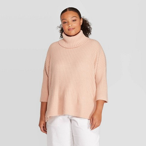 Women's Plus Size 3/4 Sleeve Turtleneck Pullover Sweater - Prologue™ - image 1 of 3
