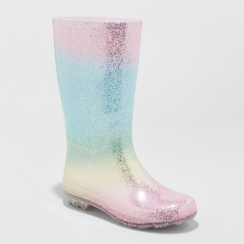 Girls' Evelyn Glitter Rain Boots - Cat & Jack™ Pink - image 1 of 3