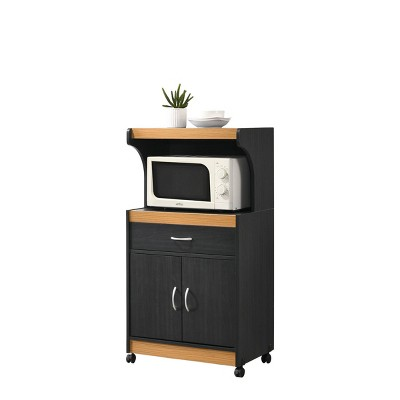 Microwave Kitchen Cart Black/Pale Cream - Hodedah