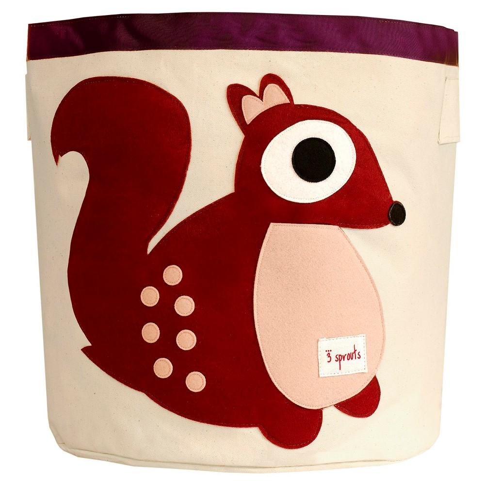Image of 3 Sprouts Canvas Extra Large Round Storage Bin - Squirrel, Multi-Colored