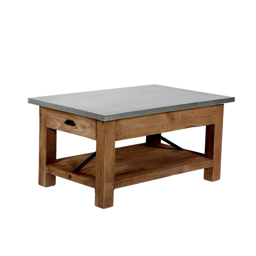 36 34 Millwork Coffee Table With Shelf Wood And Zinc Metal Silver Light Amber Alaterre Furniture