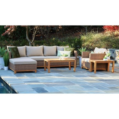 Hillgrove 6pc Sectional Seating Set Brown - Canopy Home and Garden