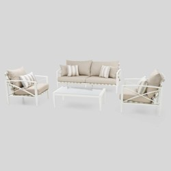 Knoxville 4pc Metal Patio Conversation Set - Cream/Slate Gray - RST Brands