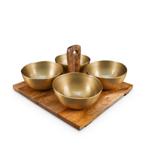 5pc Wood Gold Detail Condiment Serving Set - Thirstystone - image 1 of 1