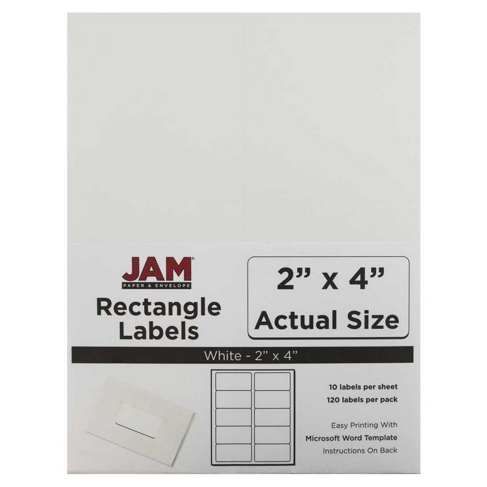 Jam Paper Mailing Labels 2 x 4 120ct - White