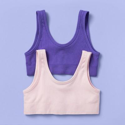 Girls' 2pk Ribbed Bra - More Than Magic™ Purple/Pink