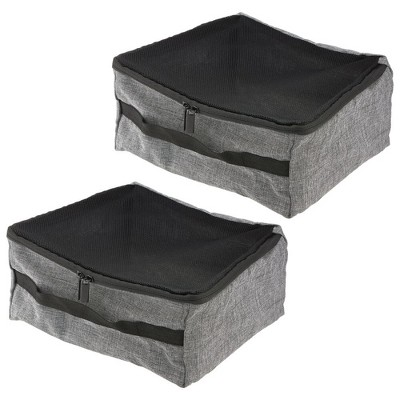 mDesign Fabric Travel Packing Luggage Storage Cube, 2 Pack - Gray/Black