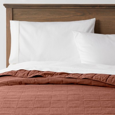 Full/Queen Space Dyed Cotton Linen Quilt Rust - Threshold™