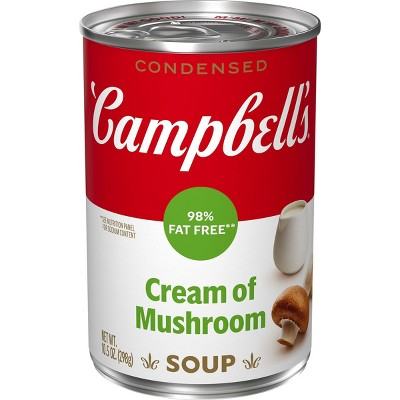 Campbell's Condensed 98% Fat Free Cream of Mushroom Soup - 10.5oz