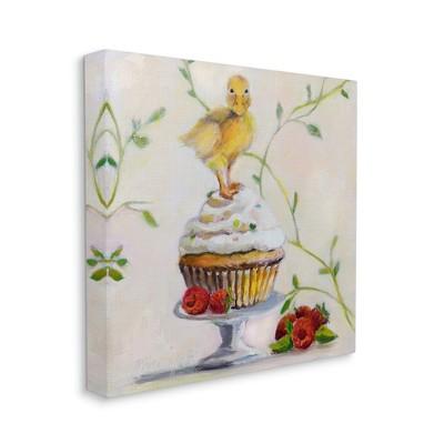 Stupell Industries Baby Duck on Raspberry Cupcake Dessert Painting